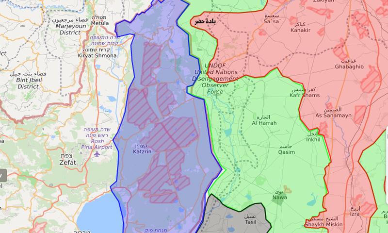 خريطة السيطرة تظهر خسارة النظام السوري لحدوده مع الجولان المحتل وفتح المعارضة طريقًا بين الغوطة الغربية وريف القنيطرة - 3 تشرين الثاني 2017 (liveuamap)
