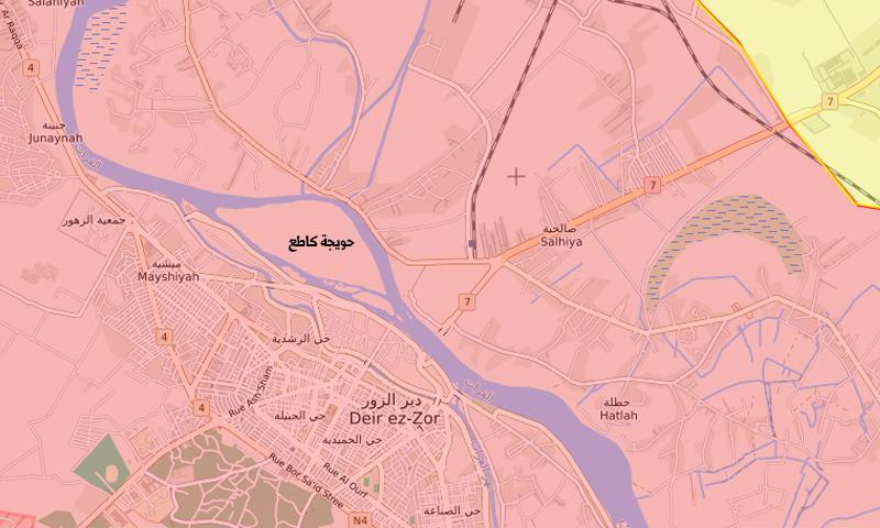 خريطة تظهر موقع حويجة كاطع قرب دير الزور (liveuamap)