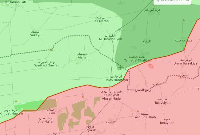 خريطة السيطرة الميدانية في ريف حماة الشمالي - 27 كانون الأول 2017 (livemap)