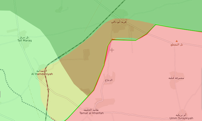 خريطة السيطرة في محيط أبو دالي شرقي حماة - 29 كانون الأول 2017 (تعديل عنب بلدي عن liveuamap)