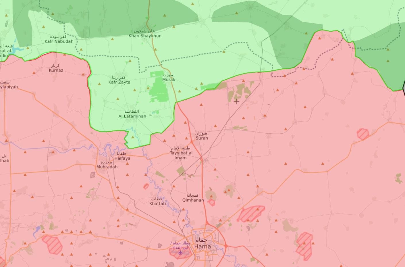 خريطة توزع السيطرة في ريف حماة - 17 كانون الأول 2017 (livemap)