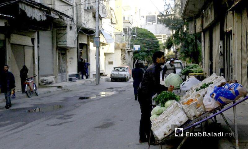 بسطة خضار في بلدة سقبا بريف دمشق - 1 كانون الأول 2017 (عنب بلدي)