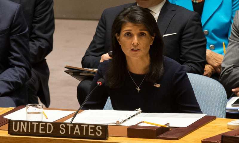 سفيرة الولايات المتحدة في الأمم المتحدة نيكي هايلي (الإندبندنت)