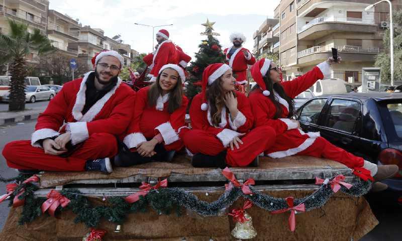 احتفالات أعياد الميلاد في دمشق 25 كانون الأول 2017 (AFP)
