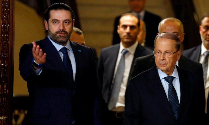 رئيس الوزراء اللبناني سعد الحريري مع الرئيس ميشال عون (رويترز)