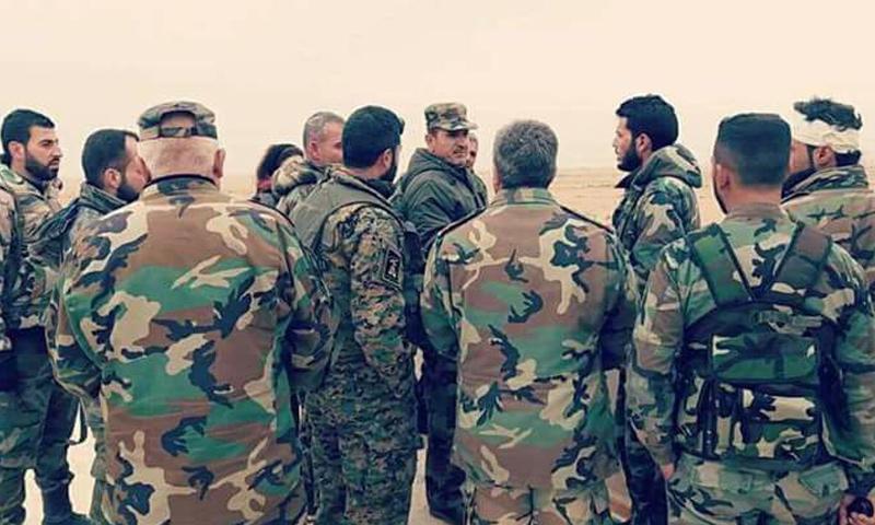 عناصر من قوات الأسد على جبهات ريف حلب الجنوبي الغربي - (فيس بوك)