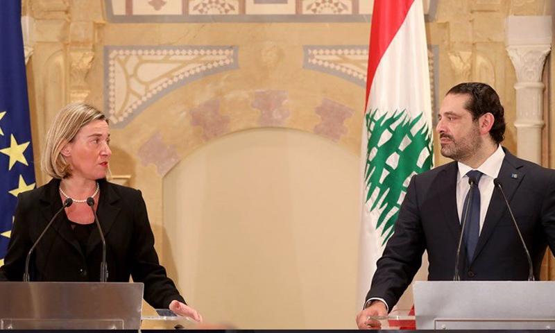 ممثلة الاتحاد الأوروبي فيديريكا موغيريني ورئيس الوزراء اللبناني سعد الحريري - 19 كانون الأول 2017 (انترنت)
