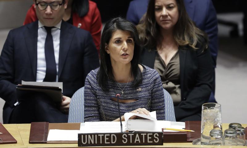 نيكي هيلي مبعوثة الولايات المتحدة الأمريكية لدى الأمم المتحدة (AP)