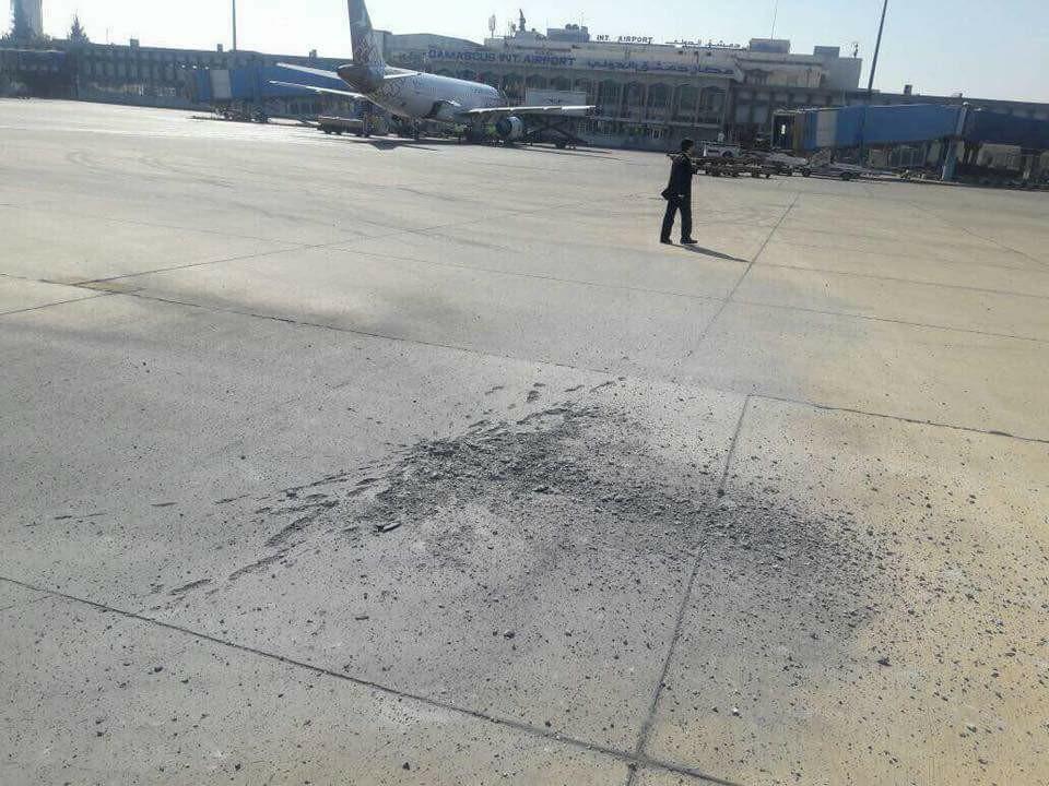 آثار قذيفة هاون في مطار دمشق الدولي - 31 كانون الثاني 2018 (شبكة أخبار حمص في فيس بوك)
