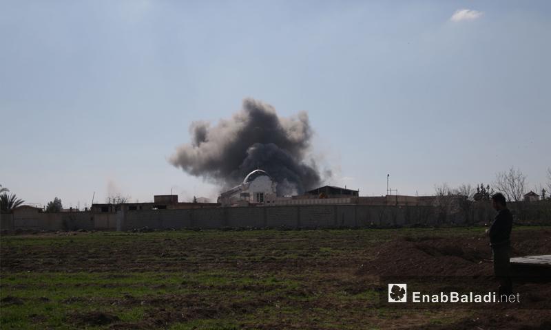 غارة جوية على بلدة حزرما بمنطقة المرج شرق الغوطة الشرقية- تشرين الثاني 2016 ( عنب بلدي)