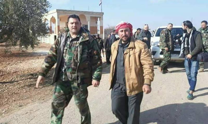 حسين العلي إلى جانب قوات الأسد في ريف حلب الجنوبي - 14 كانون الثاني 2018 (تويتر)