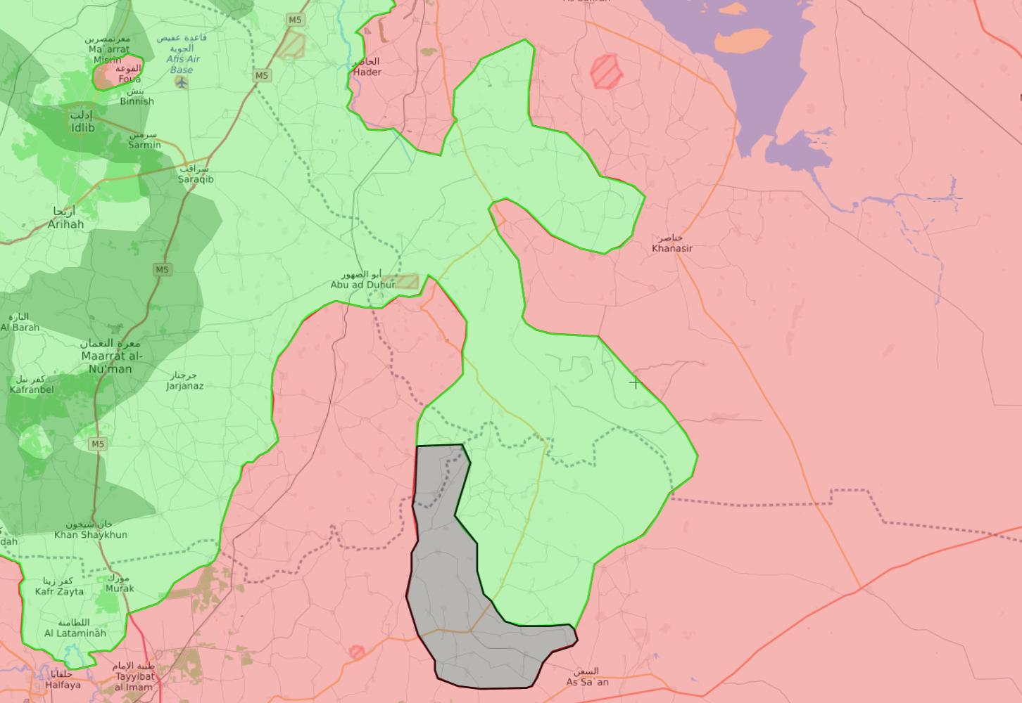 خريطة السيطرة الميدانية في ريف إدلب الشرقي - 14 كانون الثاني 2018 (Livemap)