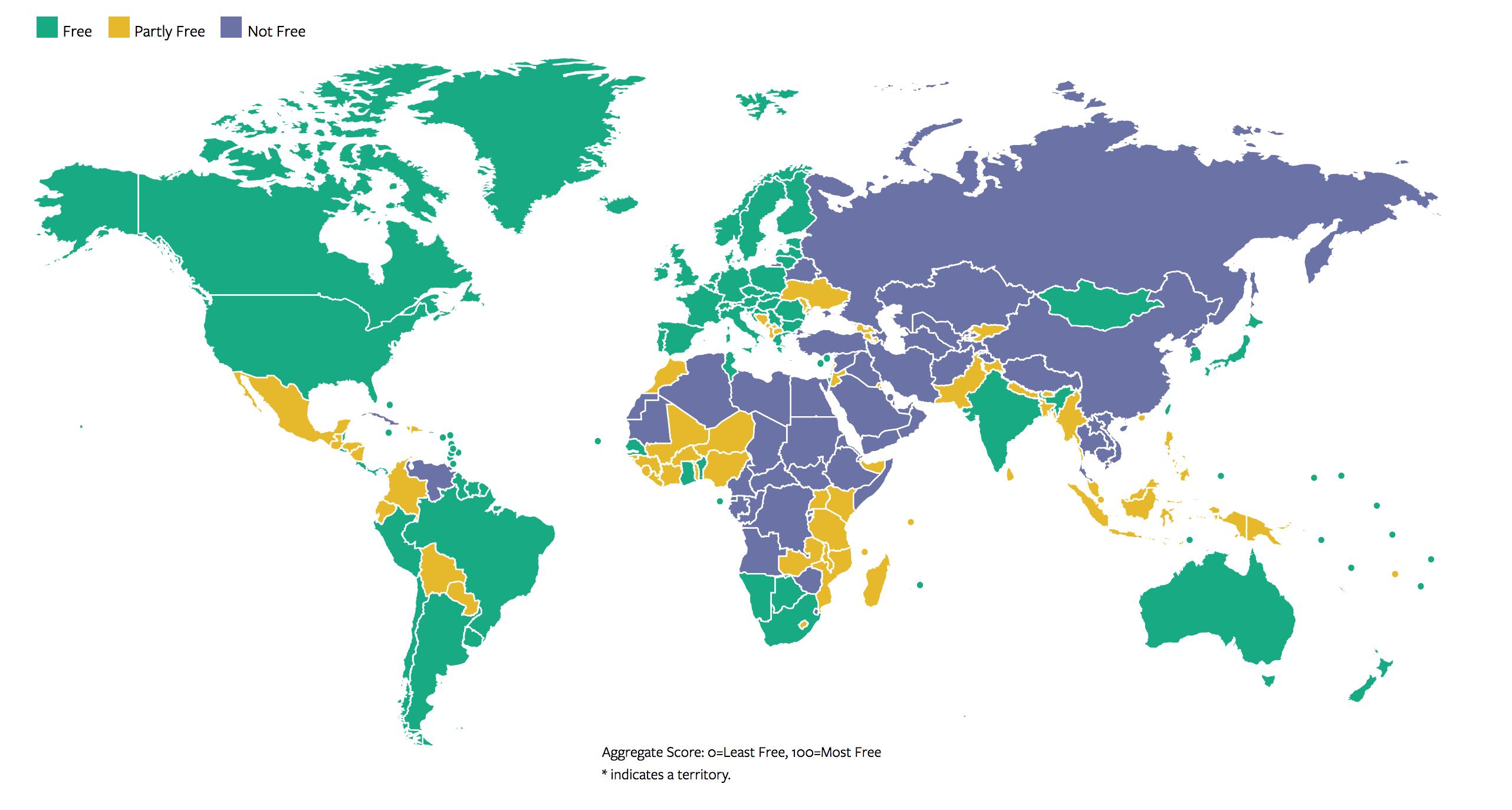 خريطة العالم من حيث الحريات والديمقراطية (فريدوم هاوس)