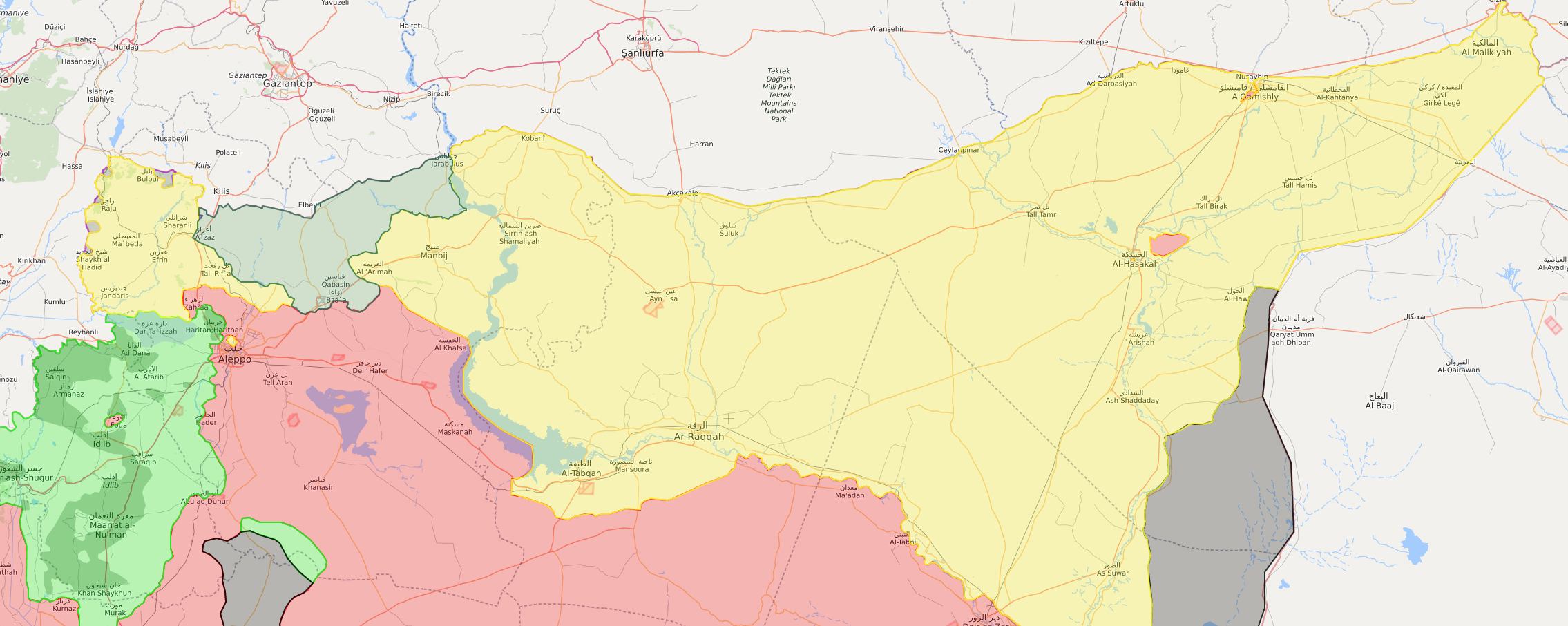 خريطة السيطرة شمالي سوريا - 24 كانون الثاني 2018 (livemap)