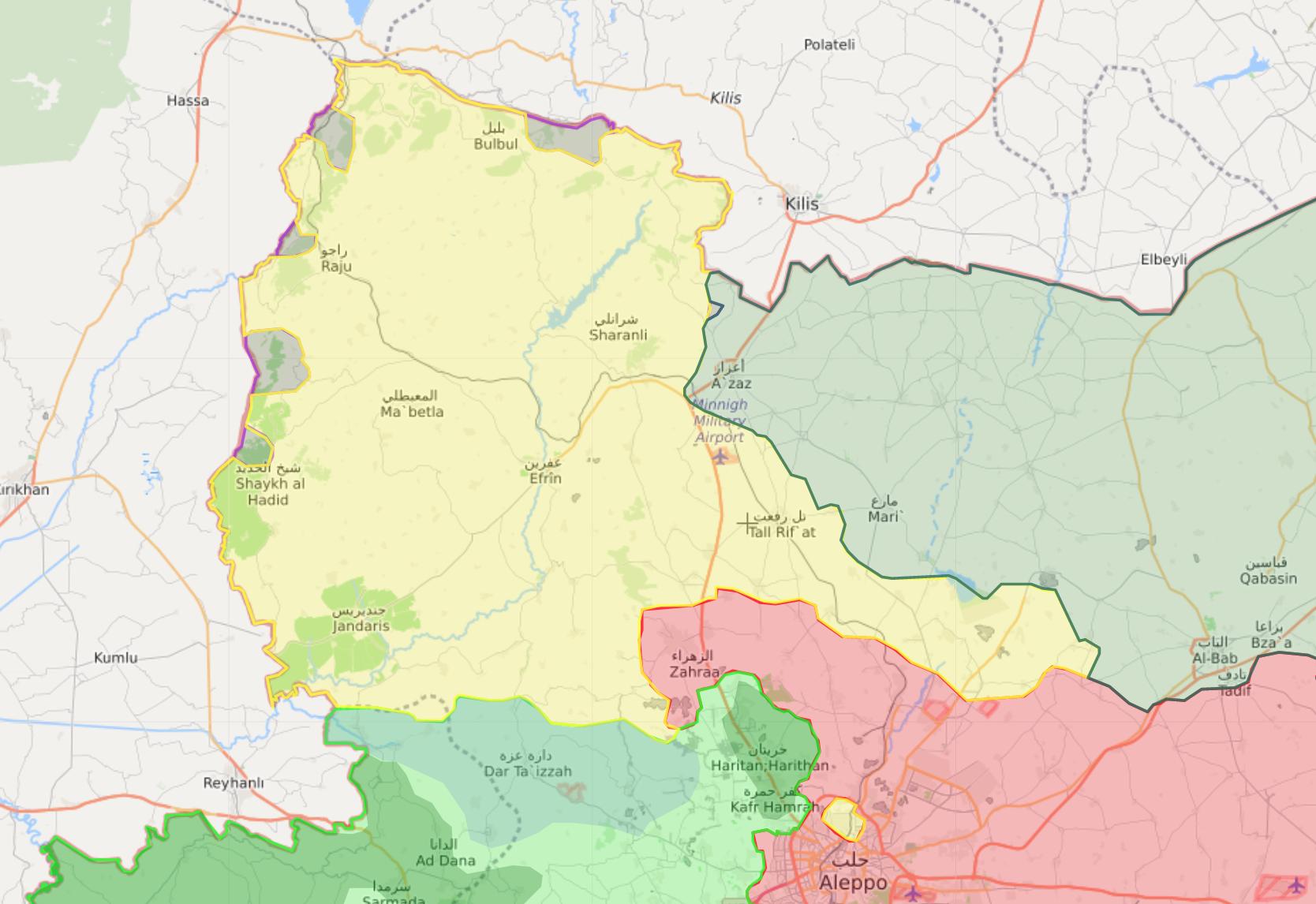 خريطة السيطرة في منطقة عفرين بريف حلب الشمالي - 27 كانون الثاني 2018 (livemap)