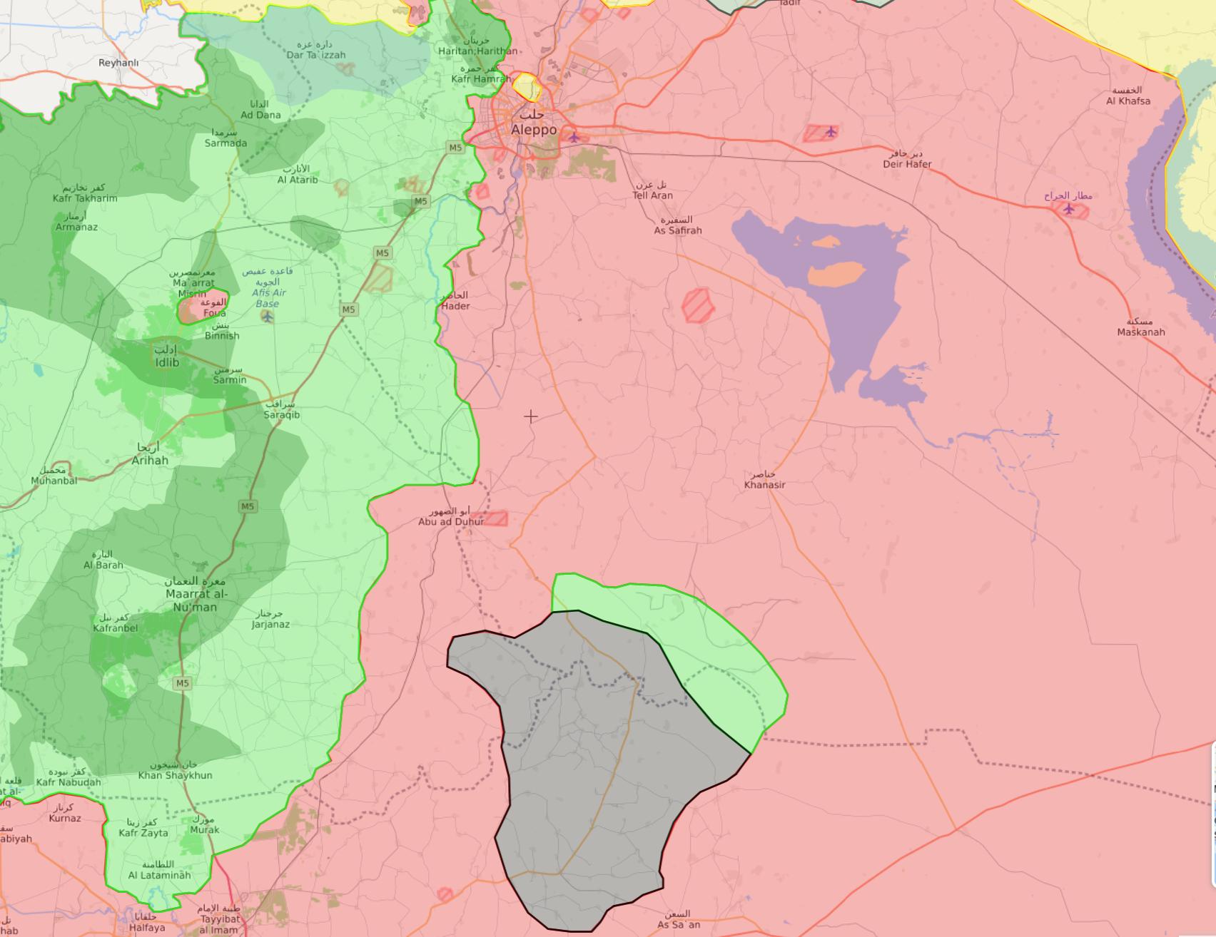 خريطة السيطرة في الشمال السوري - 31 كانون الثاني 2018 (livemap)
