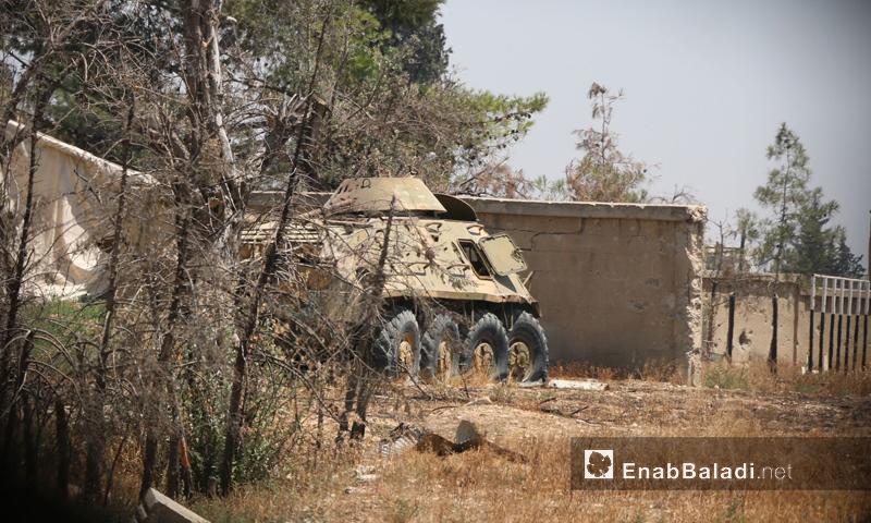 عربة معطوبة تابعة لقوات الأسد في إدارة المركبات بحرستا (عنب بلدي أرشيف)