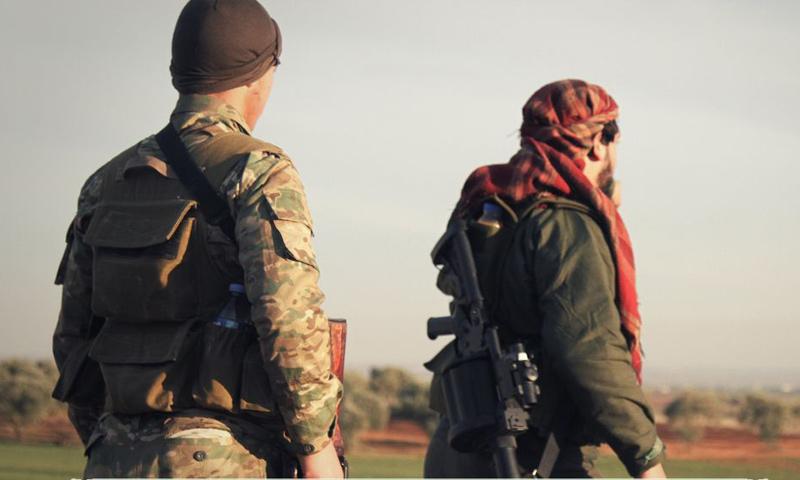 عناصر من حركة أحرار الشام الإسلامية على جبهات ريف إدلب الشرقي - 10 كانون الثاني 2018 (أحرار الشام)