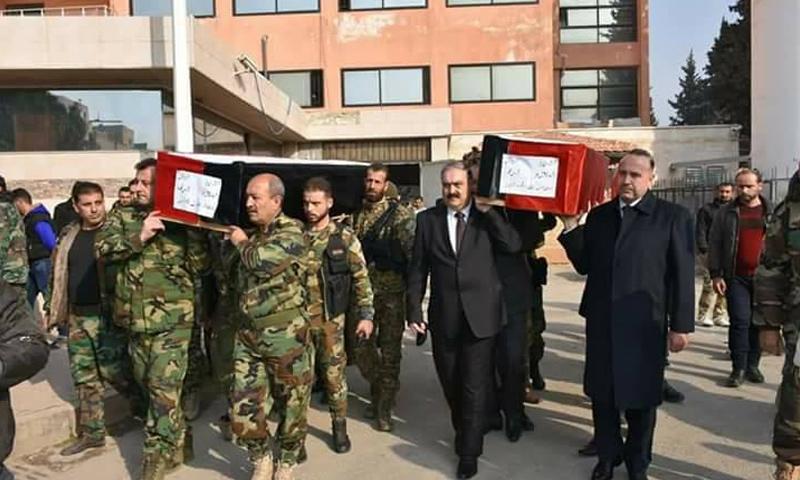 تشييع قتلى كتائب البعث من المشفى الوطني في حماة - 13 كانون الثاني (فيس بوك)
