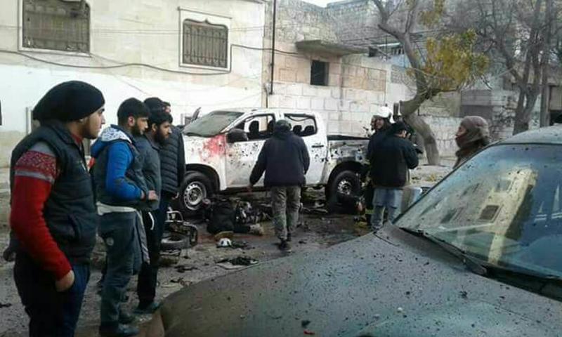 اثار التفجير في حي القصور في ادلب- 10 كانون الثاني 2018 (عنب بلدي)
