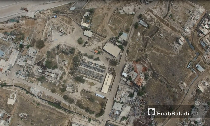 صورة جوية لإدارة المركبات في حرستا شرقي دمشق - تموز 2016 (عنب بلدي)