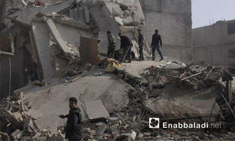 آثار القصف على بلدة حمورية في الغوطة الشرقية - 9 كانون الثاني 2018 (عنب بلدي)