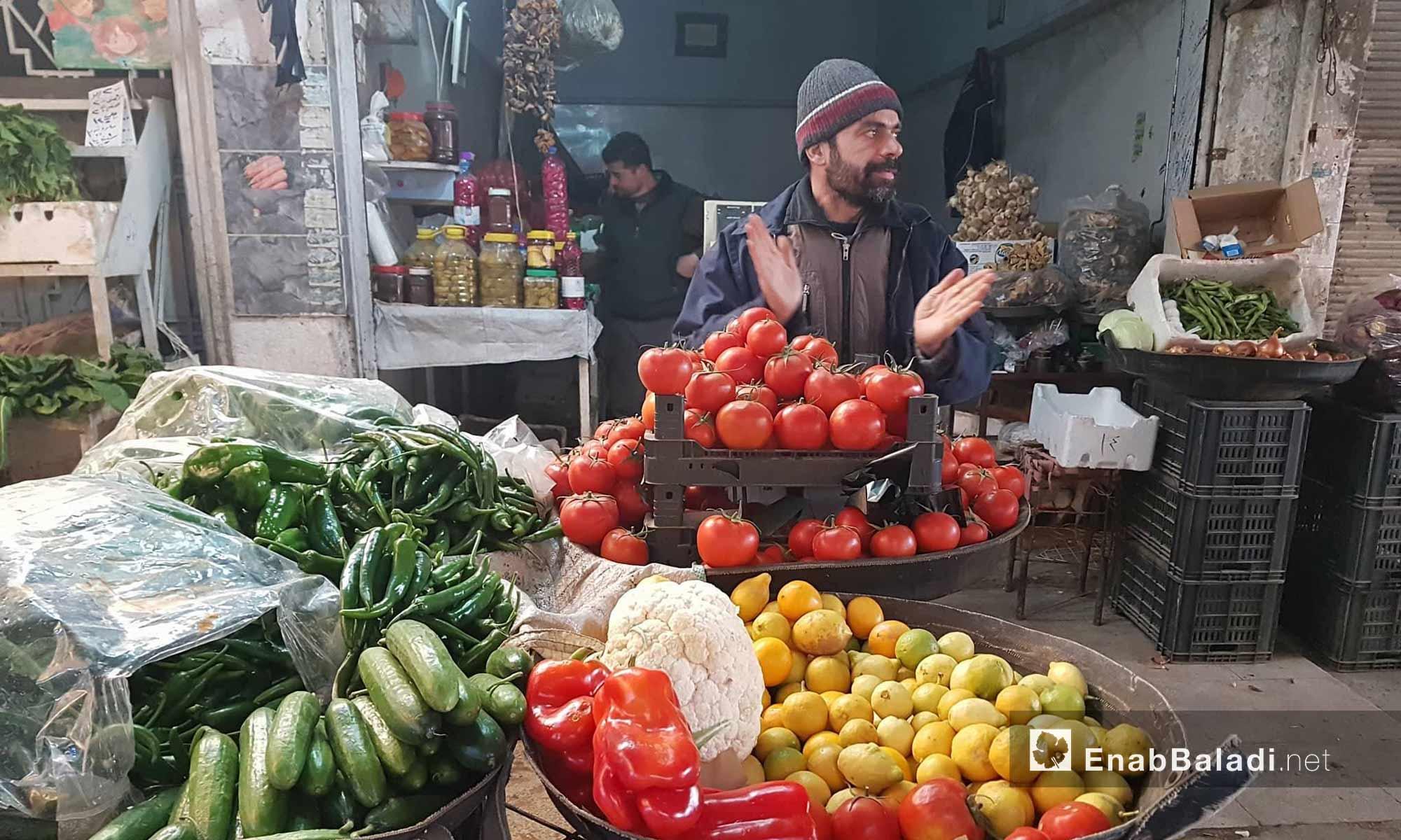 سوق الخضرة في مدينة القامشلي شمال سوريا - 30 كانون الثاني 2018 (عنب بلدي)