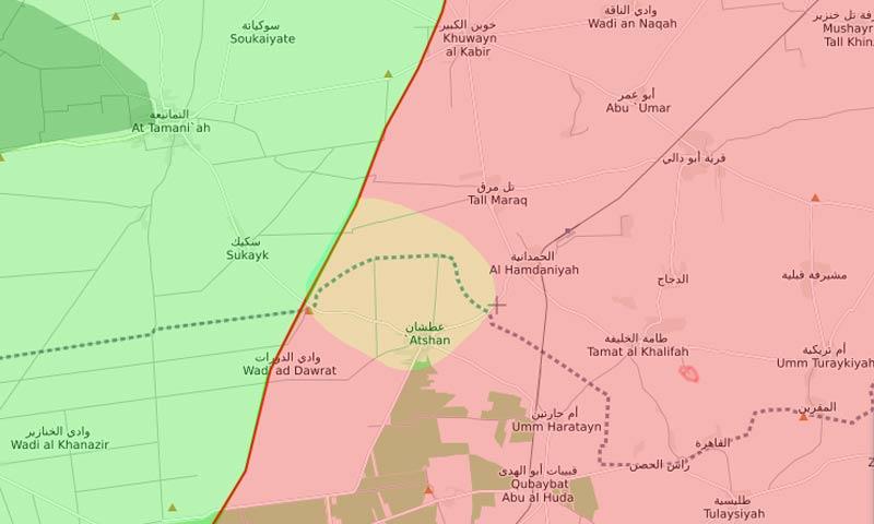 خريطة السيطرة في ريف حماة الشمالي الشرقي - 11 كانون الثاني 2017 (livemap)