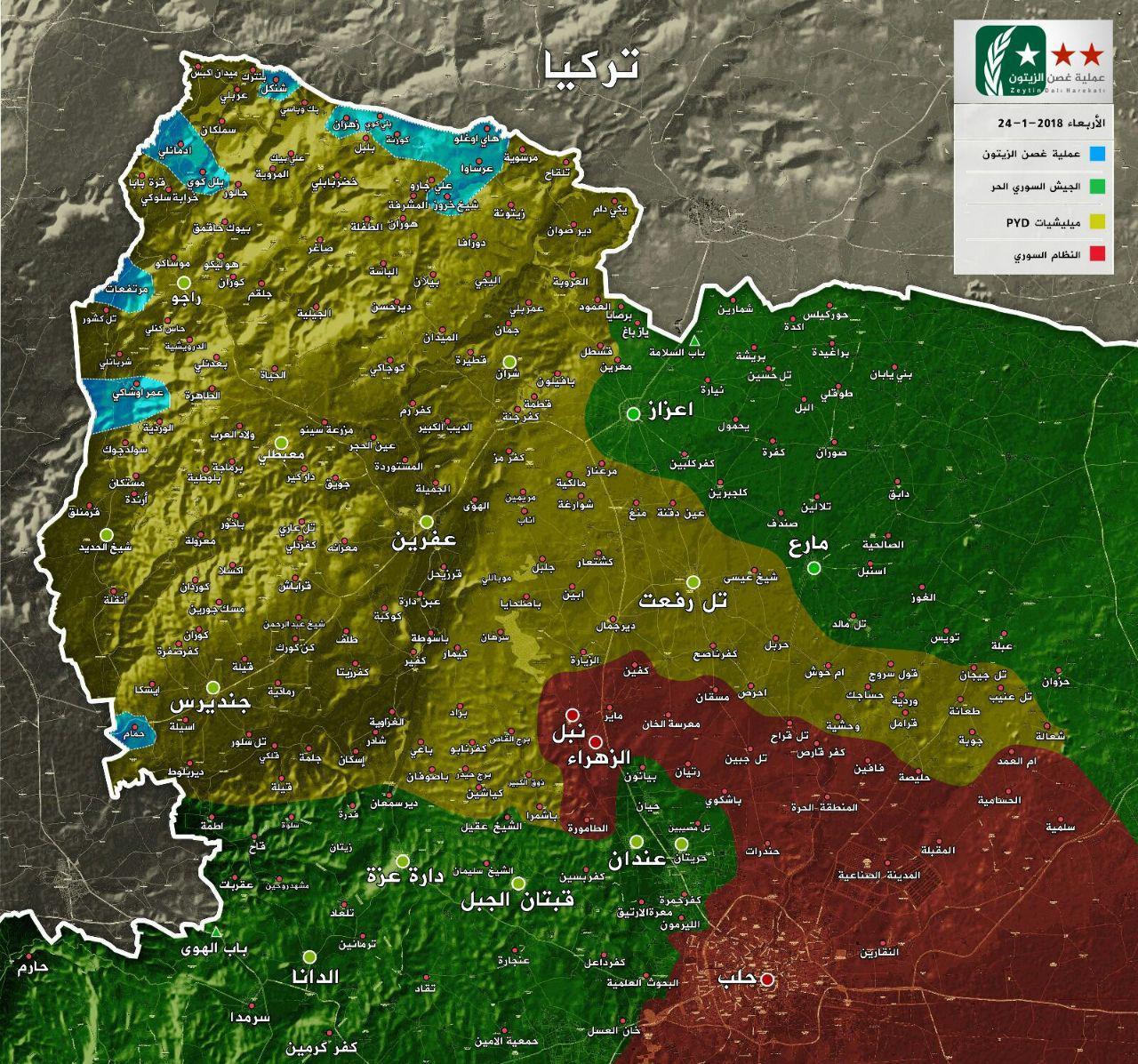 خريطة السيطرة في محيط عفرين بريف حلب - 25 كانون الثاني 2018 (عملية غصن الزيتون الرسمية في تيلغرام)