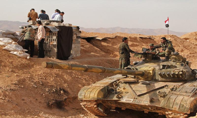 عناصر من قوات الأسد على جبهات ريف حلب الجنوبي - (انترنت)