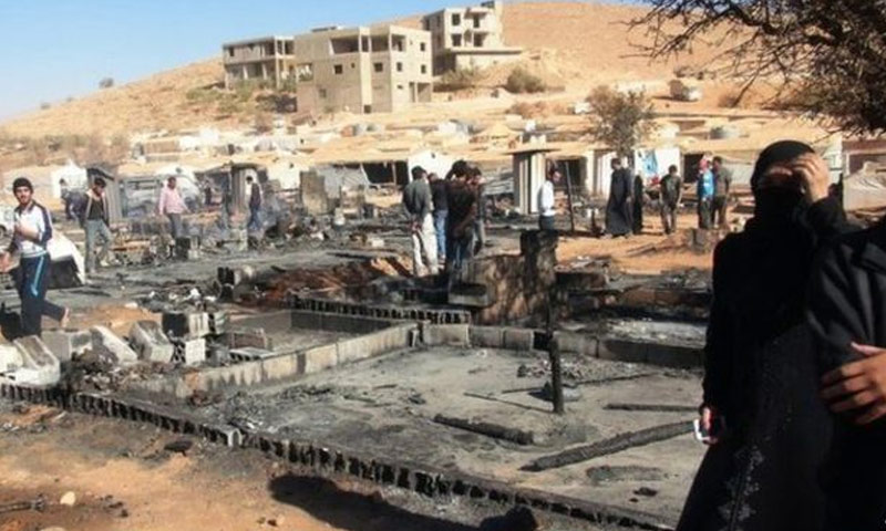 مخيم للاجئين السوريين في عرسال بعد مداهمة للجيش اللبناني - أيلول 2014 (BBC)