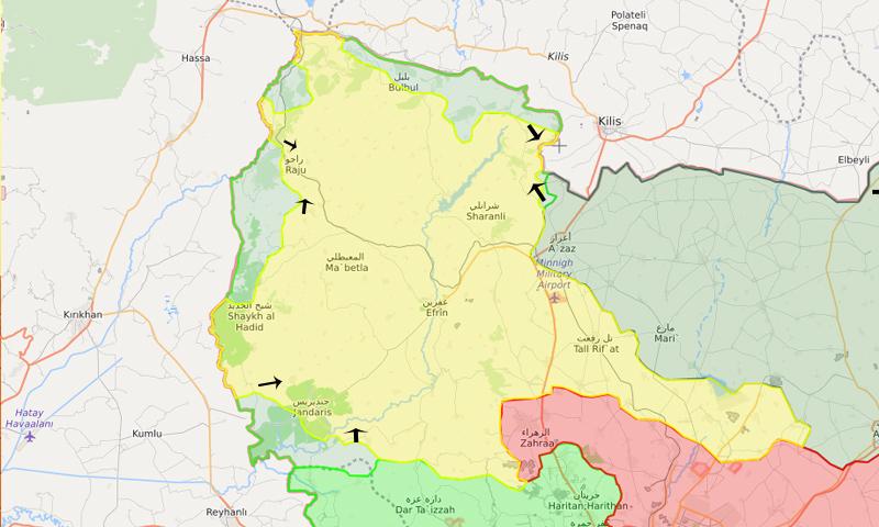 خريطة توضح نفوذ فصائل الجيش الحر والوحدات في منطقة عفرين – 19 شباط 2018 (LM)