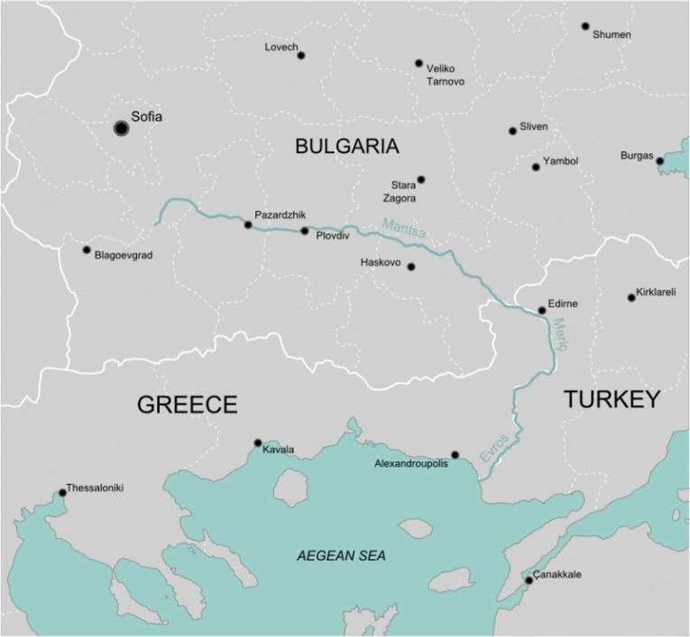 خريطة تظهر مسار نهر ماريتس بين دول بلغاريا تركيا اليونان (adwhit)