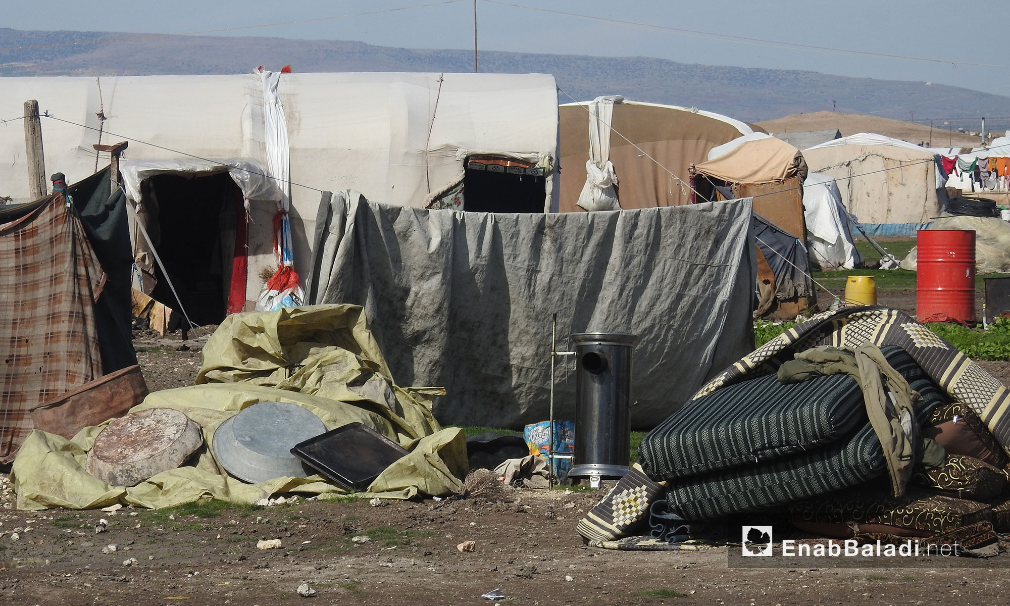 معاناة النازحين في مخيم المرج بريف حلب الشمالي - 19 شباط 2018 (عنب بلدي)