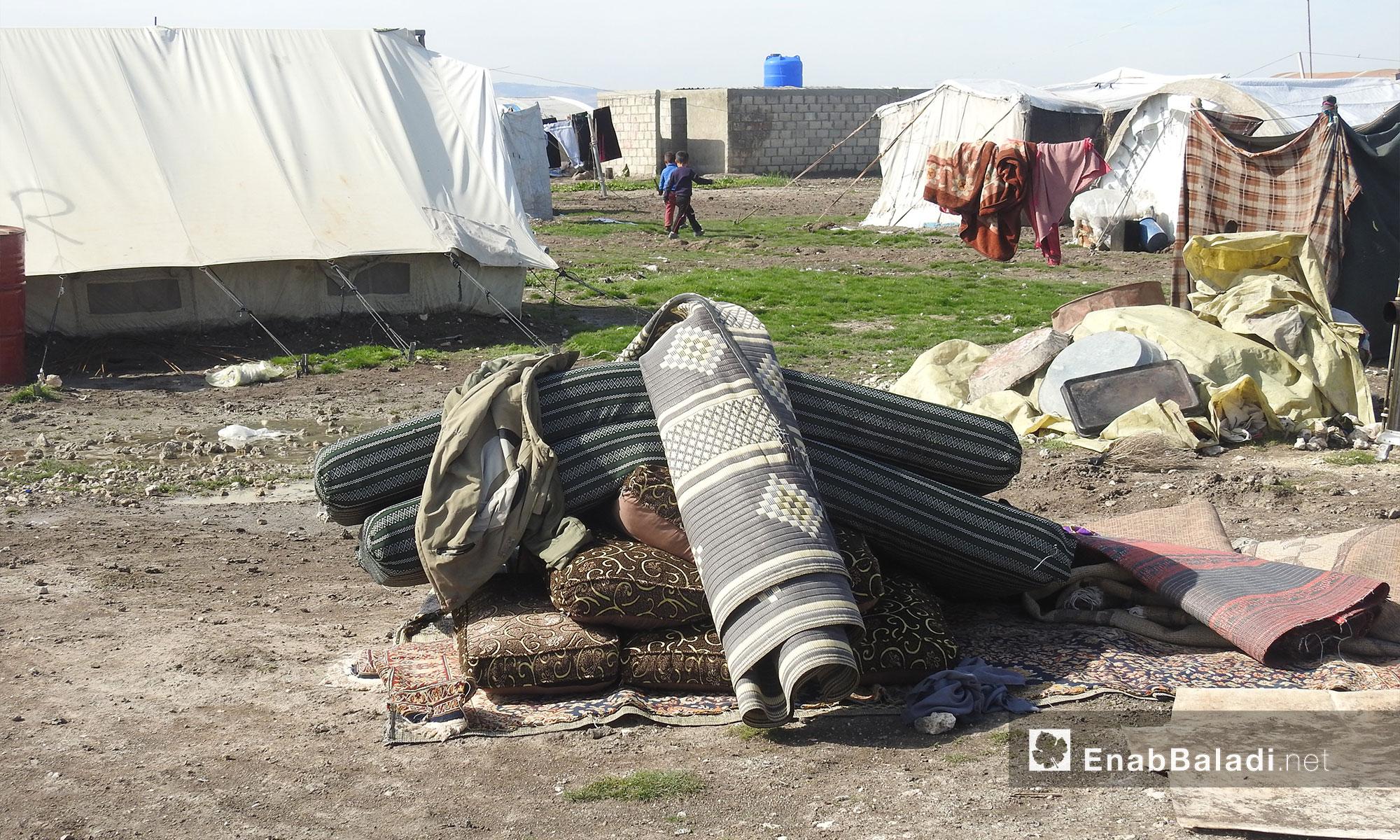 النازحون في مخيم المرج بريف حلب الشمالي - 19 شباط 2018 (عنب بلدي)