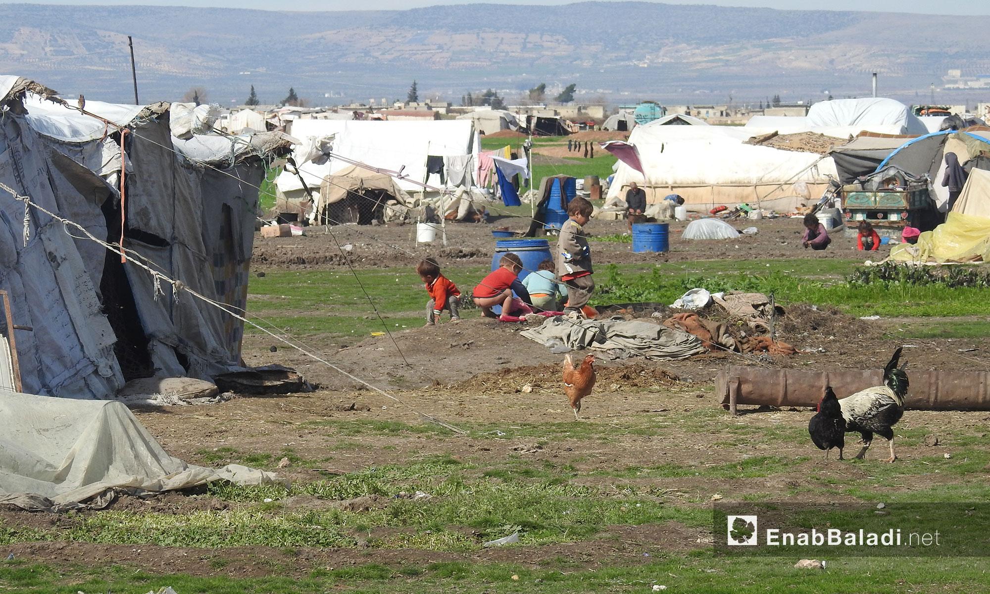 أطفال النازحين في مخيم البرج بريف حلب الشمالي -  19 شباط 2018 (عنب بلدي)