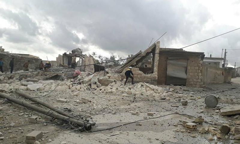 إلقاء برميل متفجر على قرية الغدفة في إدلب - 25 كانون الثاني 2018 (الدفاع إلقاء برميل متفجر على قرية الغدفة في إدلب - 25 كانون الثاني 2018 (الدفاع المدني)المدني)