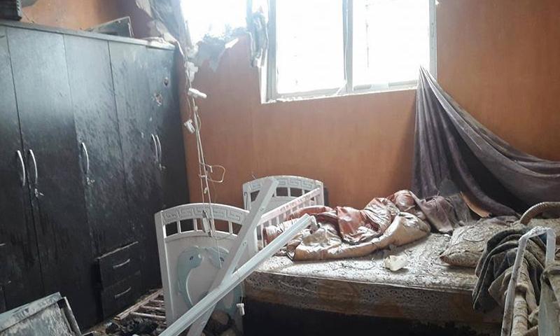 الأضرار الناجمة عن آثار سقوط قذائف على باب شرقي- 5 شباط 2018 (دمشق الآن)