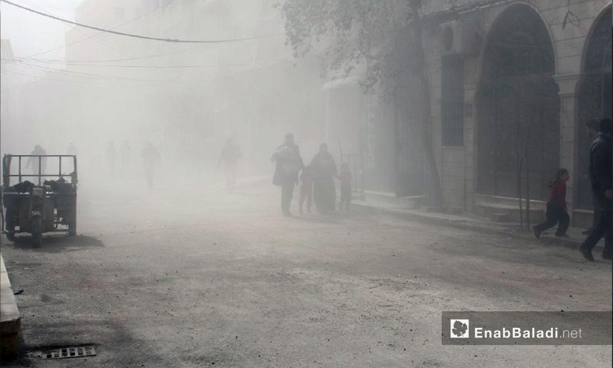 قصف بالطيران الحربي على بلدة حمورية في الغوطة الشرقية - 6 شباط 2018 (عنب بلدي)