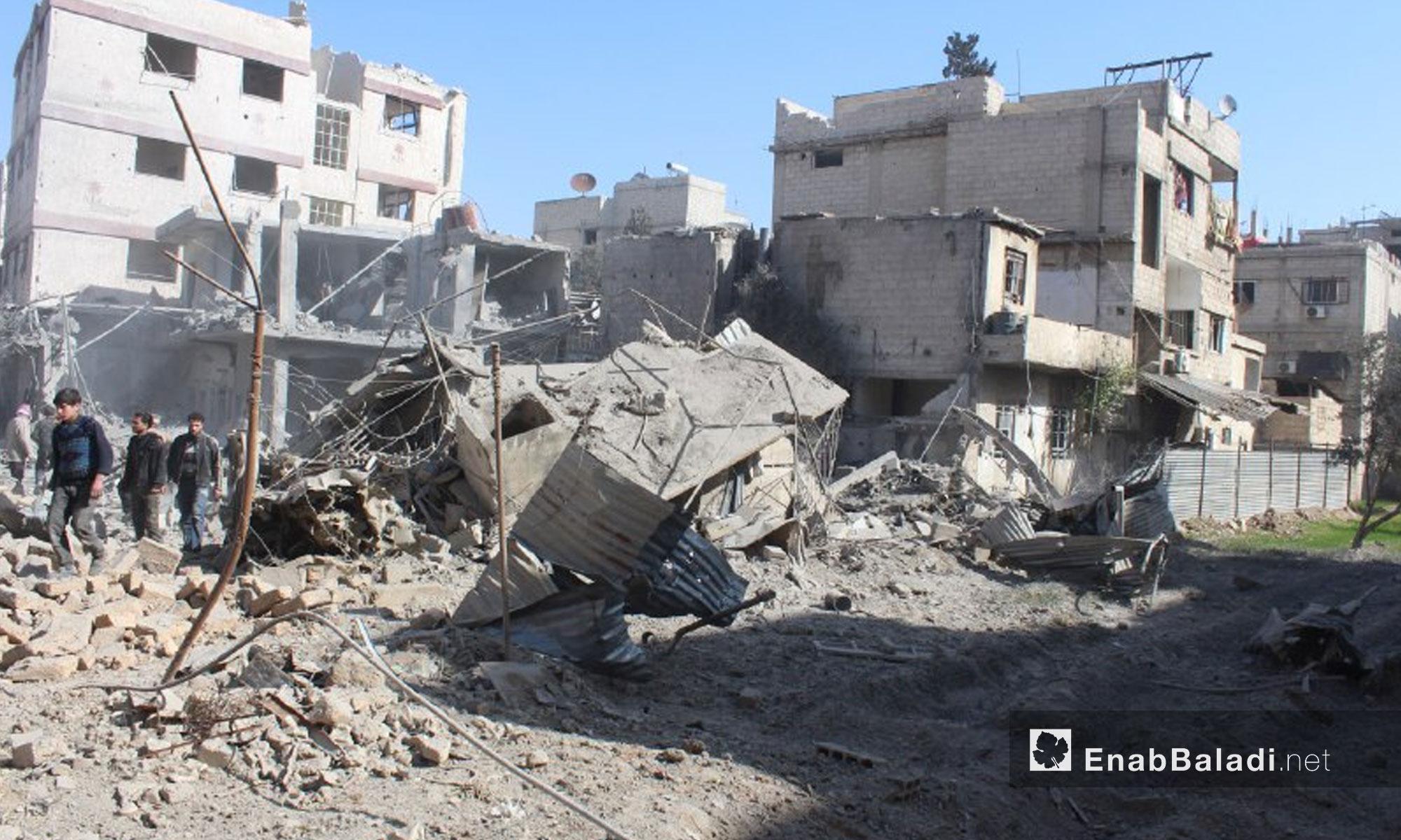 آثار القصف على بلدة حمورية في الغوطة الشرقية - 7 شباط 2018 (عنب بلدي)