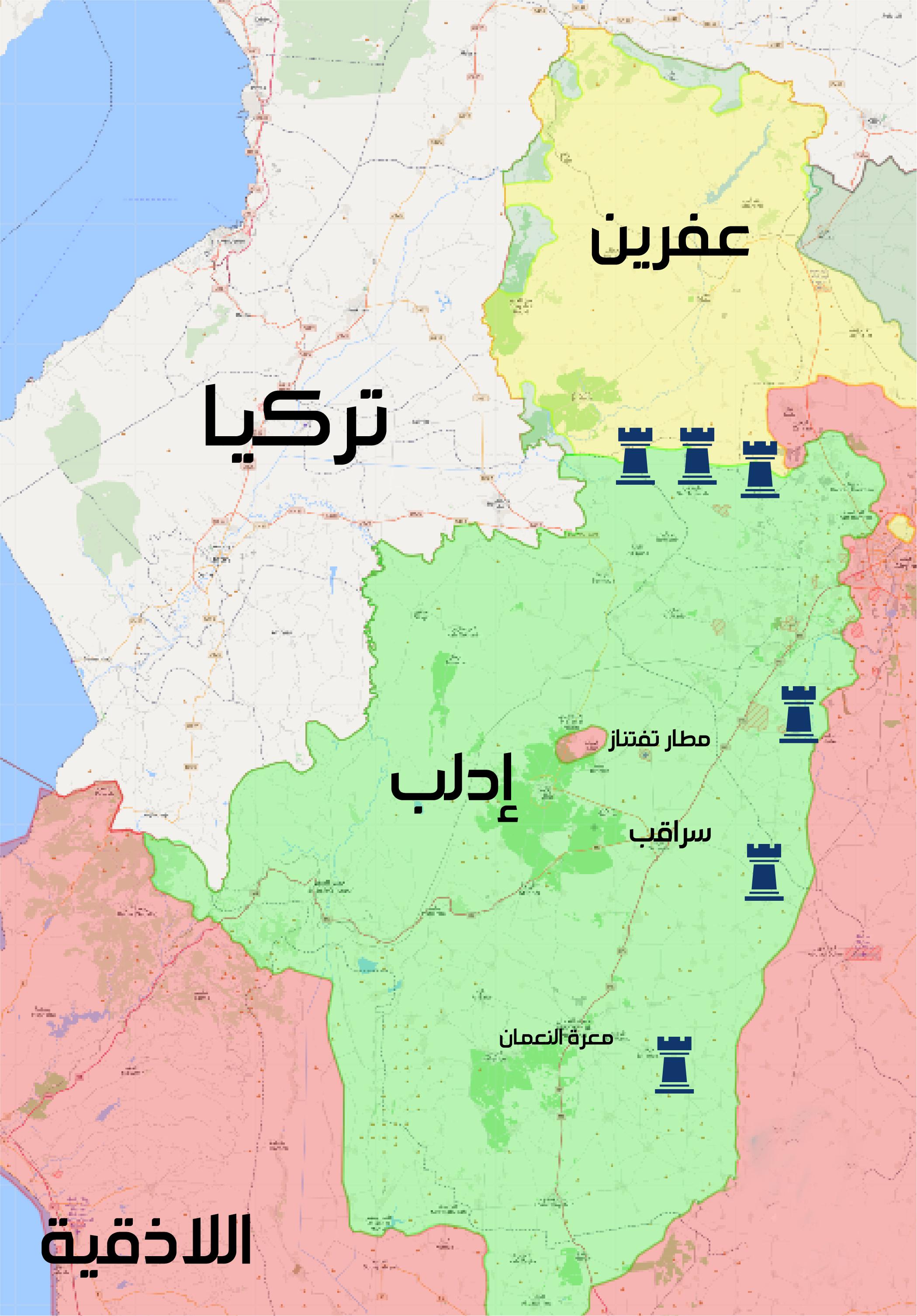 خريطة توزع نقاط التمركز التركية في محافظة إدلب - 15 شباط 2018 (تعديل عنب بلدي)