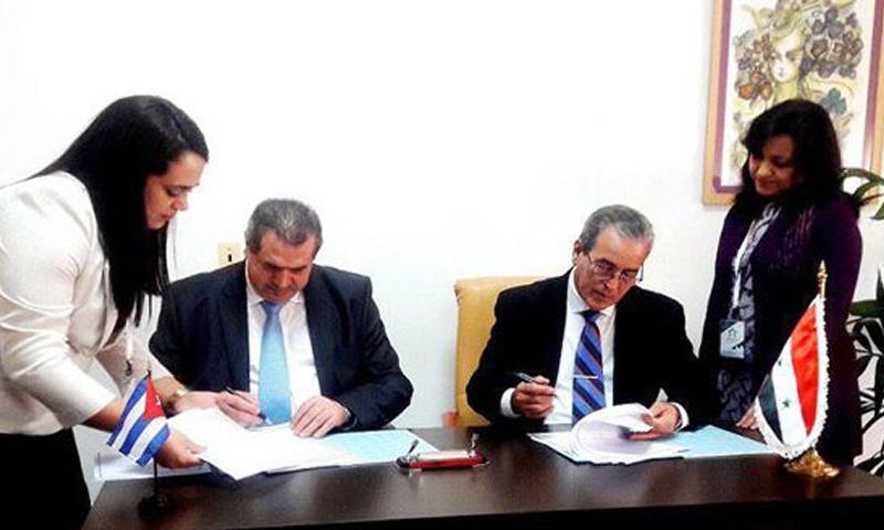 توقيع اتفاقية تعاون ثقافي بين حكومة النظام وكوبا - 15 شباط 2018 (SANA)