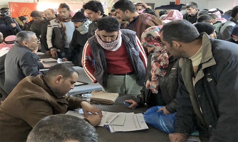 معرض العمل الذي رافق افتتاح مكتب التشغيل في مخيم الأزرق 18 شباط(UNHCR)