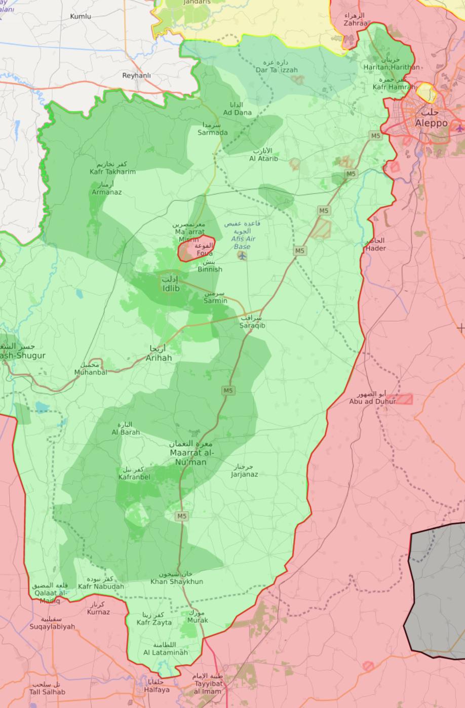 خريطة السيطرة في محافظة إدلب - 7 شباط 2018 (livemap)