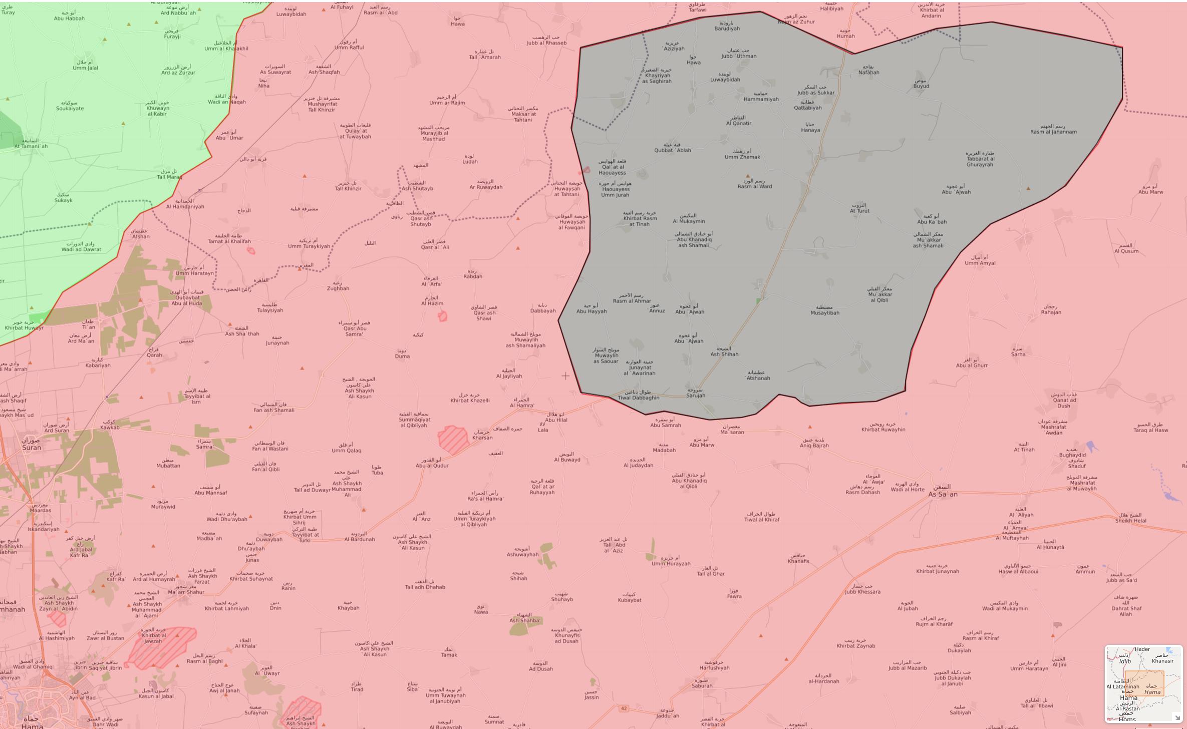 خريطة السيطرة في ريف حماة الشرقي - 7 شباط 2018 (livemap)