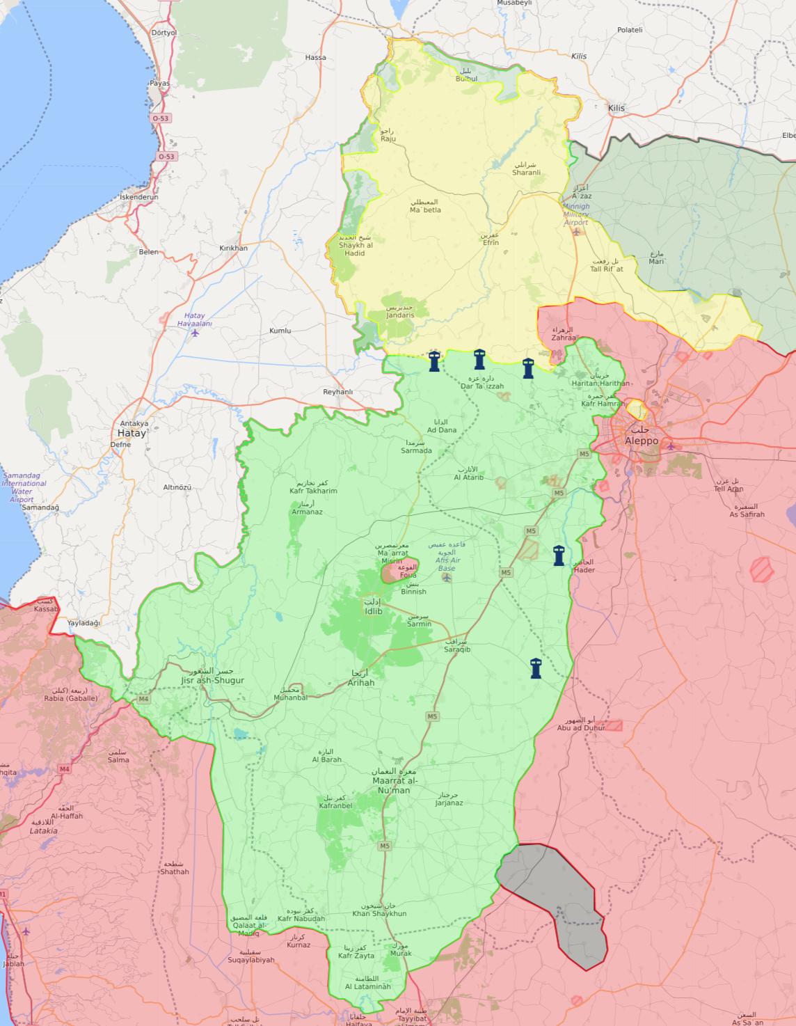 خريطة نقاط المراقبة التركية في جيب إدلب - 10 شباط 2018 (livemap)