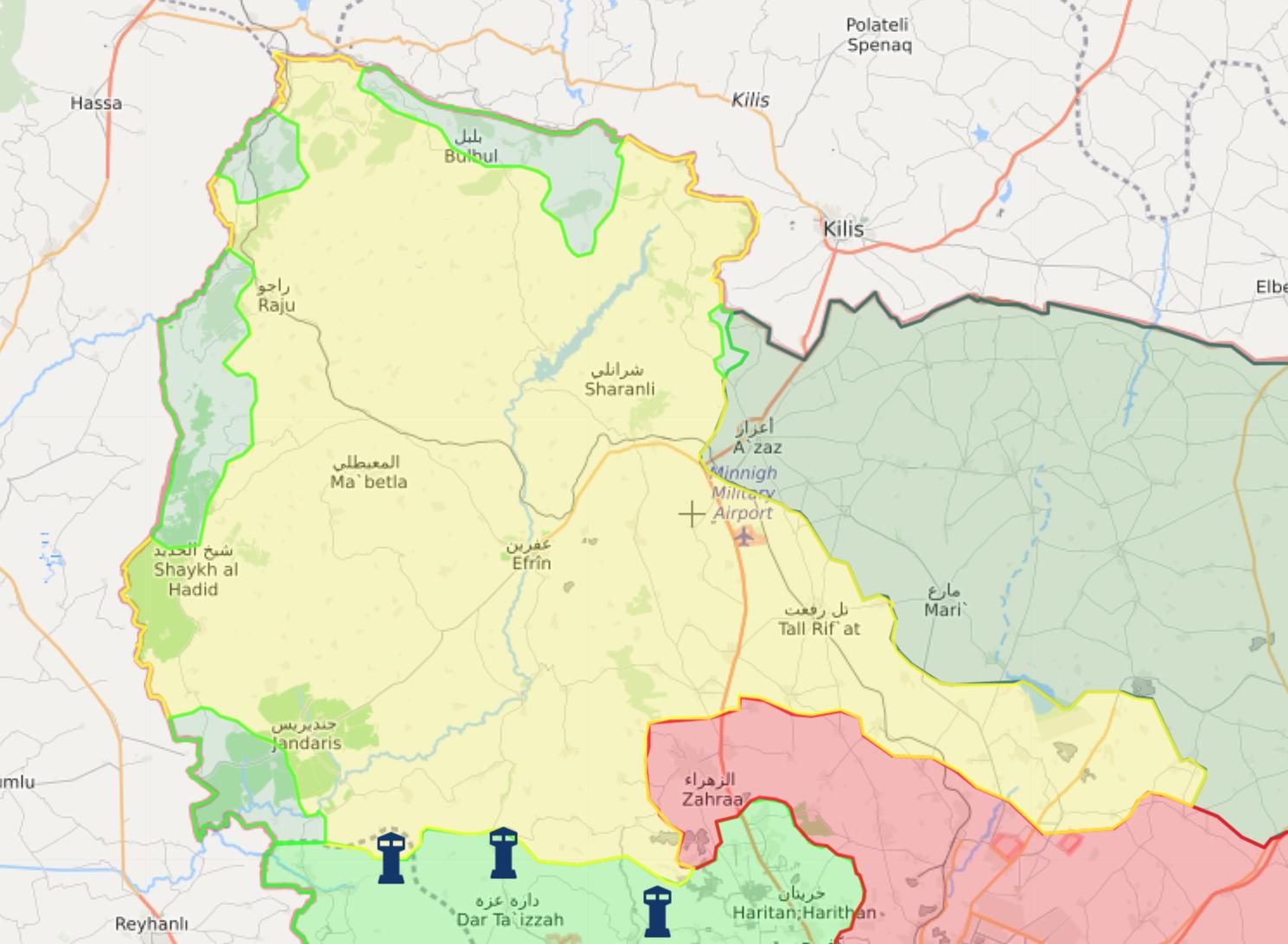 خريطة السيطرة في منطقة عفرين شمالي حلب - 15 شباط 2018 (livemap)