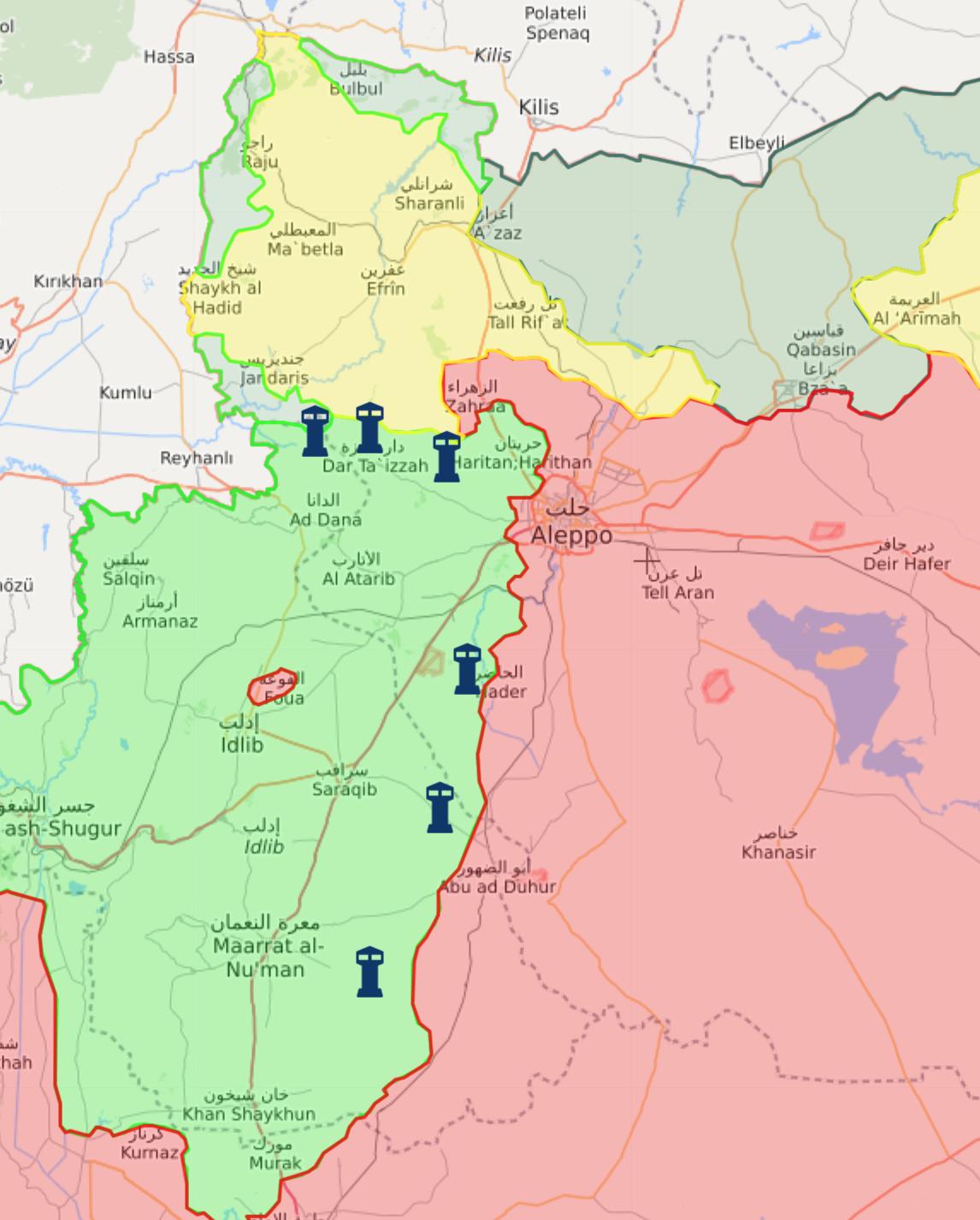 خريطة السيطرة الميدانية في الشمال السوري - 23 شباط 2018 (livemap)