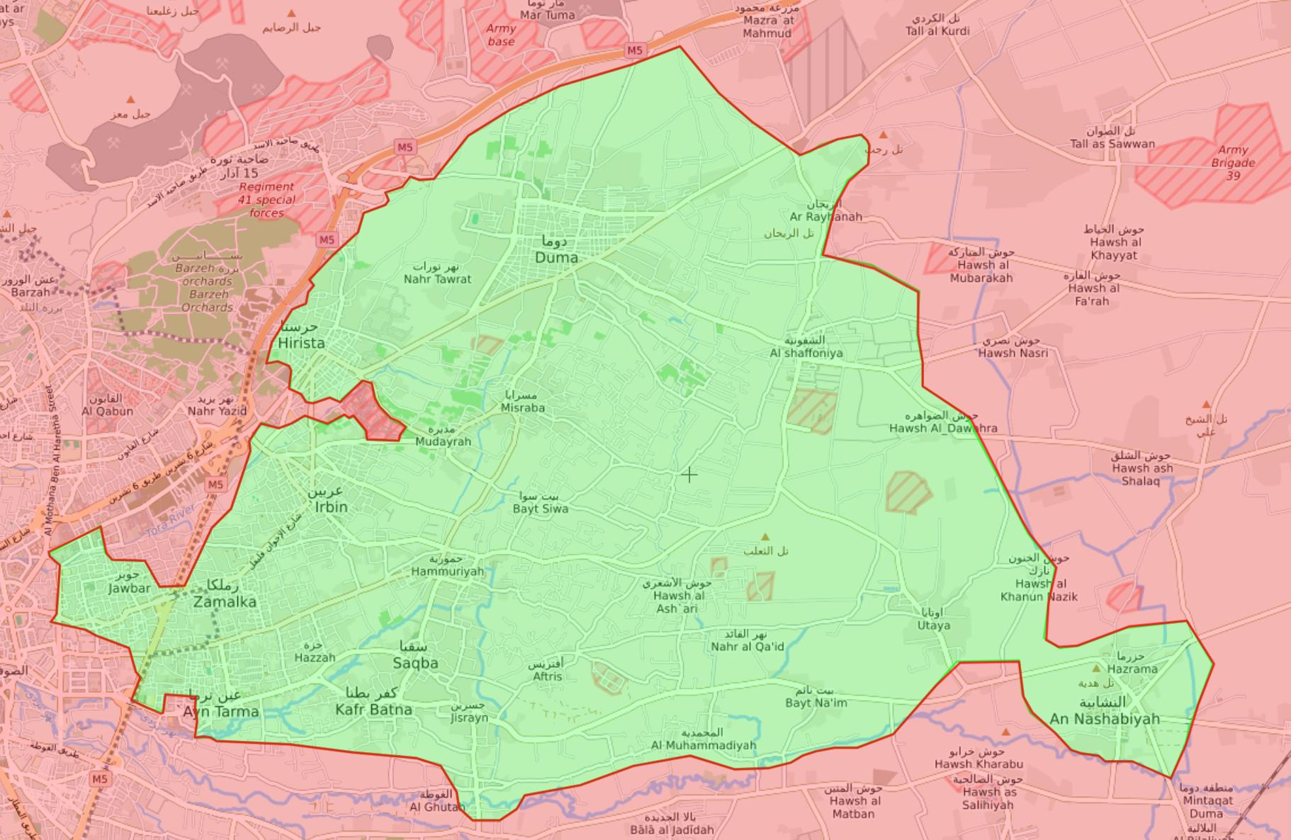 خريطة السيطرة الميدانية في الغوطة الشرقية –26 شباط 2018 (Livemap)