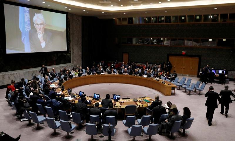 اجتماع مجلس الأمن الدولي بشأن سوريا في نيويورك - 22 شباط 2018 (رويترز)